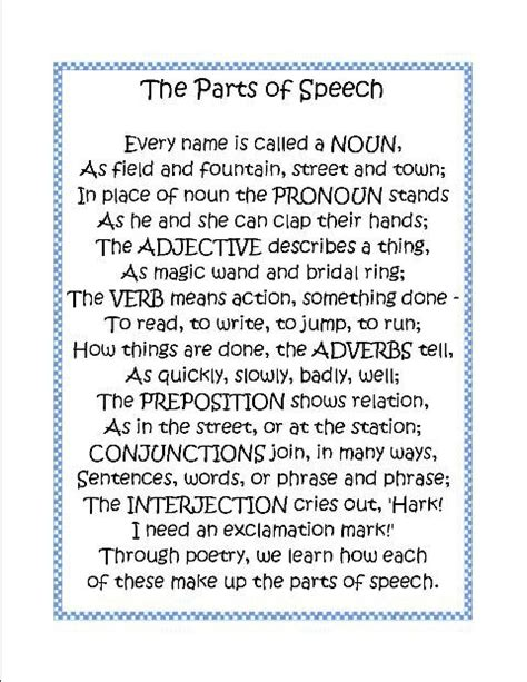 sections of a poem parts of speech poem language arts pinterest english