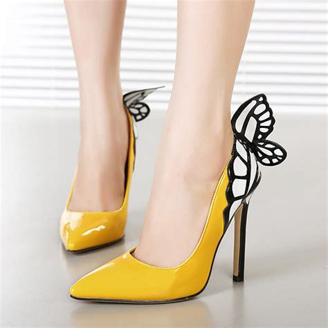 cheap yellow high heels cheap fashion pointed closed toe butterfly