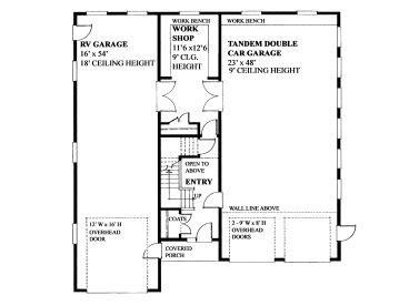 tandem garage plans tandem garage plans tandem garage plan with workshop rv bay and loft design 010g 0019 at