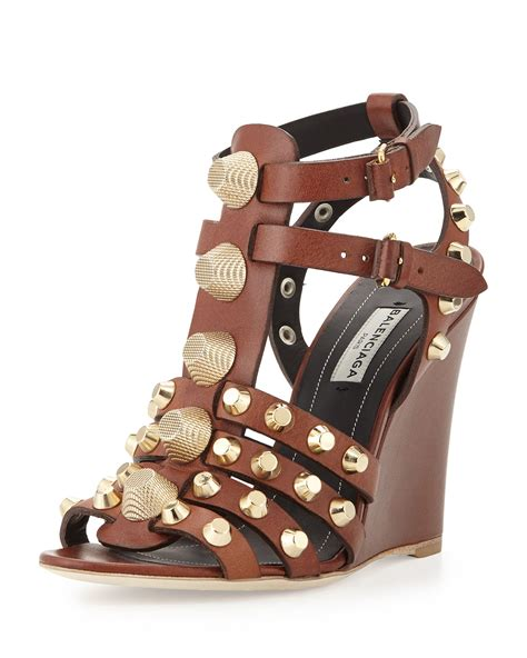 t wedge sandal balenciaga studded t wedge sandal in brown lyst
