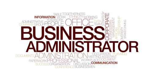 design firm management administration report business administrator animated word cloud kinetic