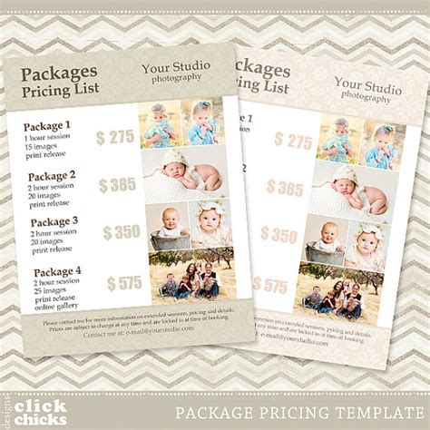 photography package pricing list template photography