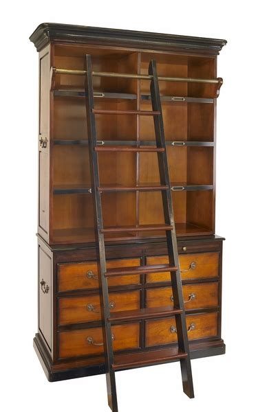 Bookcase Ladder Hardware Mf095 Authentic Models Cambridge Bookcase With Library Ladder And Solid Bronze Hardware
