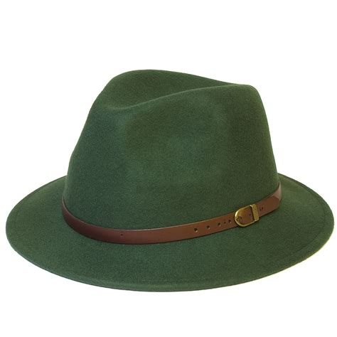Hat Handmade - wool fedora felt trilby hat with faux leather belt