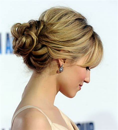 low bun with short hair side major princess braid low curly bun hair style