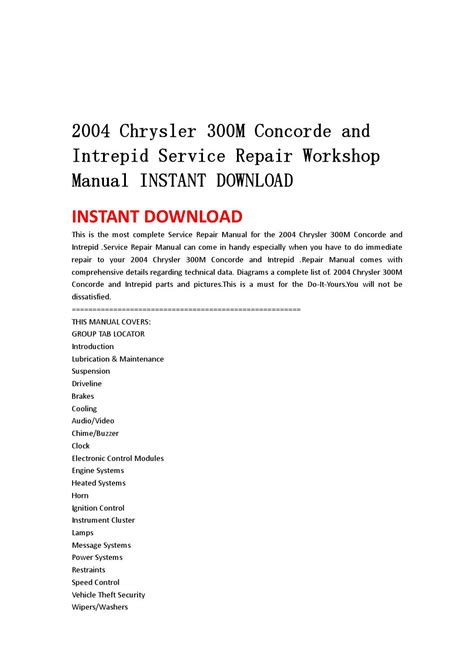 how to download repair manuals 1999 chrysler 300m instrument cluster 2004 chrysler 300m concorde and intrepid service repair workshop manual instant download by