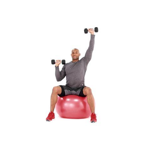 alternating swiss ball dumbbell shoulder press video  proper form  tips