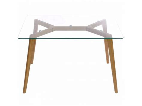 Glass Dining Table With Oak Legs Clear Glass Table W Oak Wood Legs Kitchen Dining Room Furniture Charles Ebay