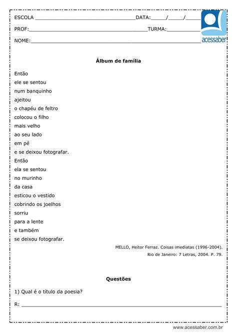 Interpretação de texto: Álbum de família - 3º ou 4º ano