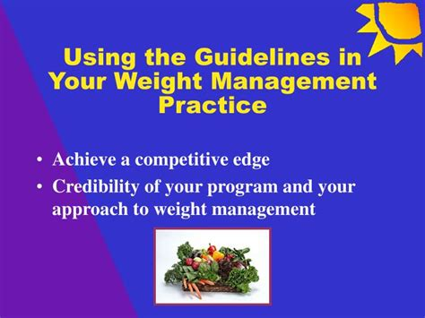 weight management guidelines ppt using the guidelines in your weight management