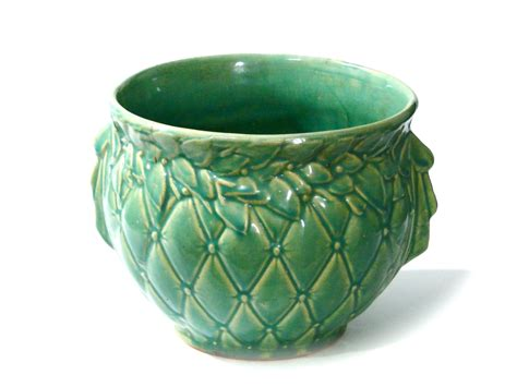 Mccoy Pottery Planters Prices by Mccoy Pottery Jardiniere Planter Ribbon Bow Handles Aqua