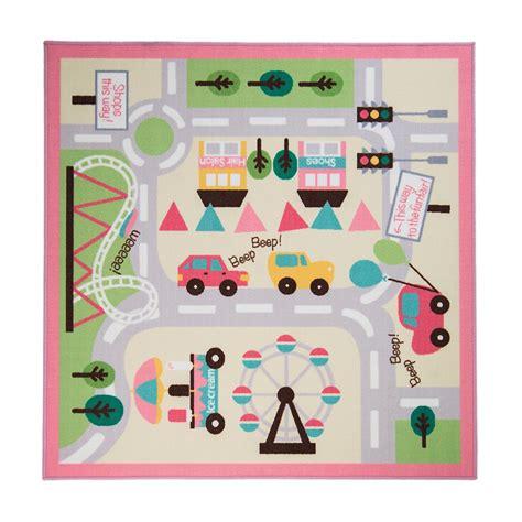alfombra ciudad alfombra infantil rosa con mapa de ciudad y coches de rugs