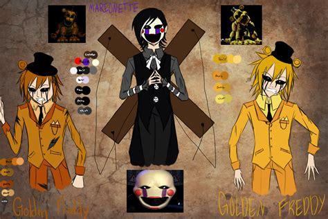 golden anime human freddy the marionette and golden freddy sketch by loverrx on