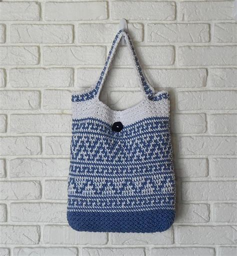 pattern tote bag reversible reversible tote bags r14 001 by crochetbykathy craftsy