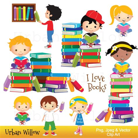 clipart bimbi clip reading books graphics school kid