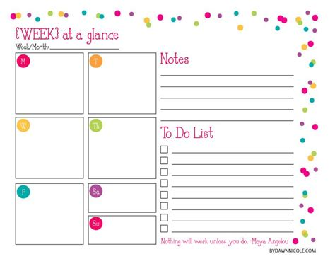 week at a glance lesson plan template organizational printables daily weekly