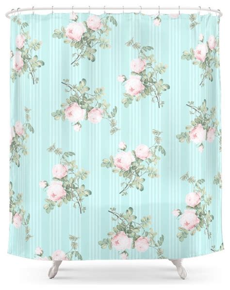 duschvorhang mint society6 shabby chic roses pink and mint shower curtain