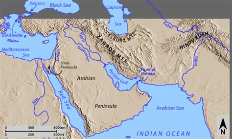 middle east map with physical features maps