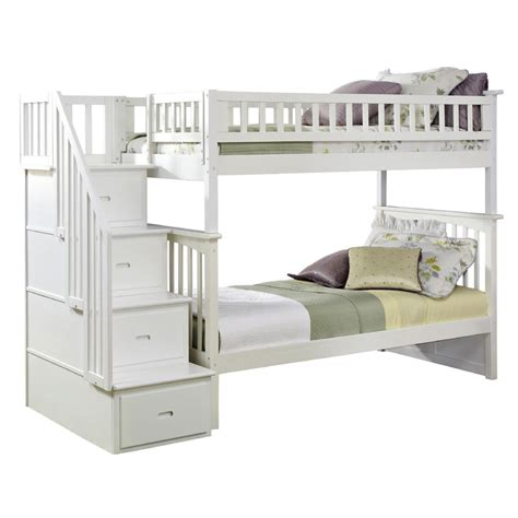 white bunk beds with stairs white classic arch slatted bunk bed with stairs