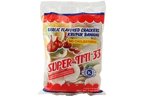 Kerupuk Bawang titi 33 kerupuk bawang warna garlic flavored crackers 7oz 3 units 044406040086