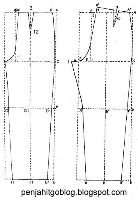 gambar pola celana wanita dan keterangannya