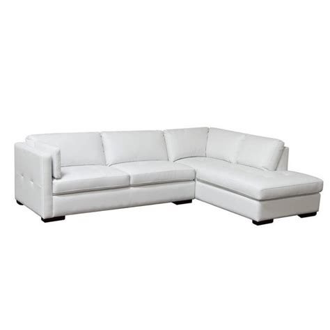 sofa 2 pc right leather chaise white sectional