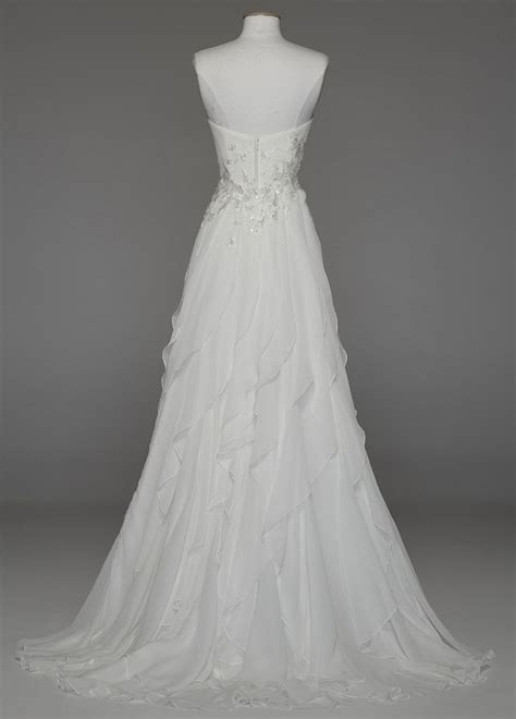 david s bridal strapless a line chiffon wedding dress with