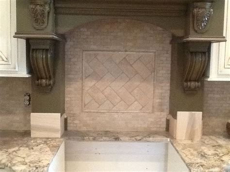 mini brick split face travertine with a herringbone