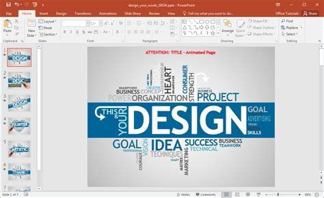 presentation templates word animated design your words powerpoint template