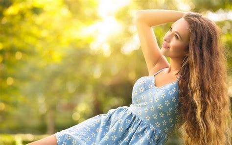 wallpaper girl happy happy girl in the summer blue dress sun wallpaper