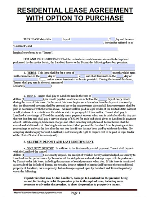 florida lease agreement template free florida lease agreement with option to purchase pdf