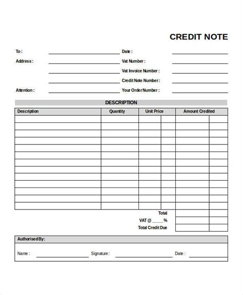 Business Credit Note Template 6 Credit Note Exles Sles