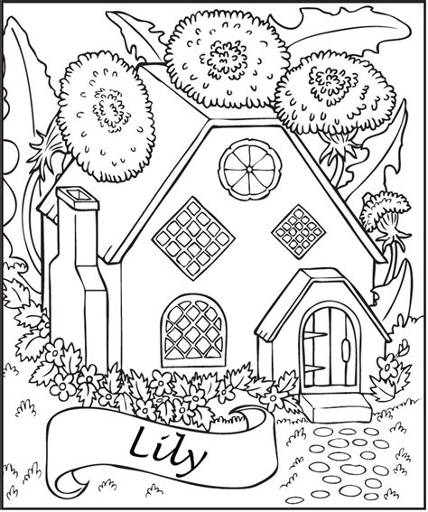 personalized fairy house coloring page frecklebox