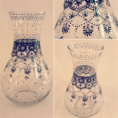 henna design on vase hand painted clear glass vase henna inspired design in