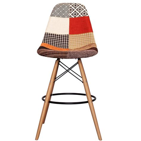 bar stools wooden legs patchwork fabric eiffel designer dsb bar stool by only home