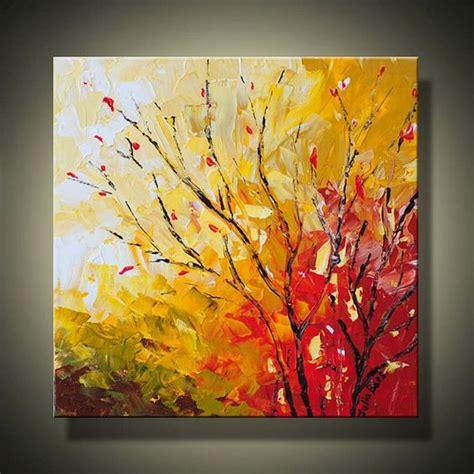 Original Painting On Canvasautumn Landscapemodern Landscape Painting 12x12 Abstract Autumn Tree
