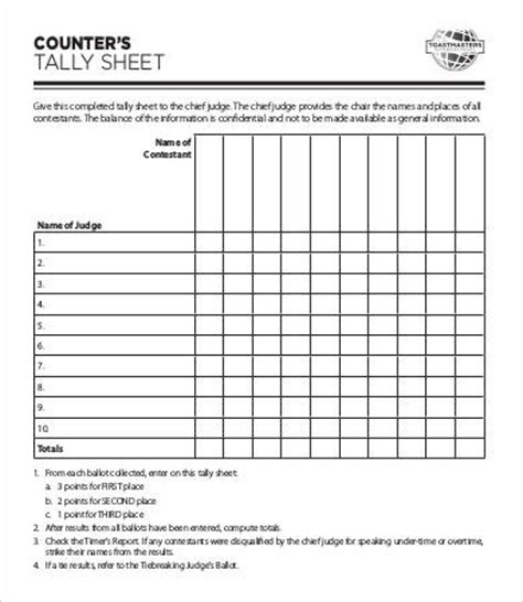 tally card template tally sheet template 10 free word pdf documents