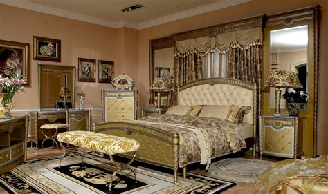 Luxury Bedroom Sets 4 Pc Zeus European Golden Luxury Bedroom Set