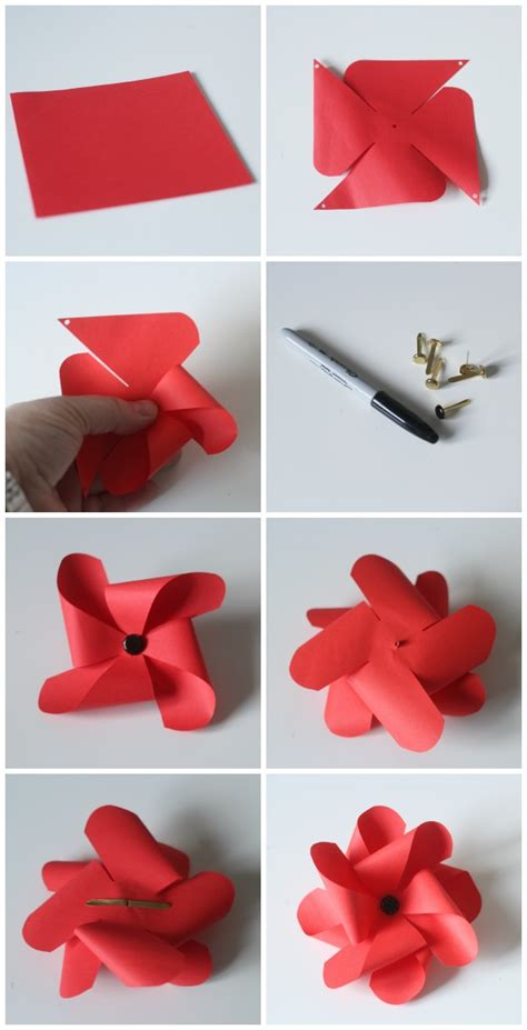 How To Make A Pinwheel Out Of Paper - pinwheel poppies a remembrance armistice or veteran s