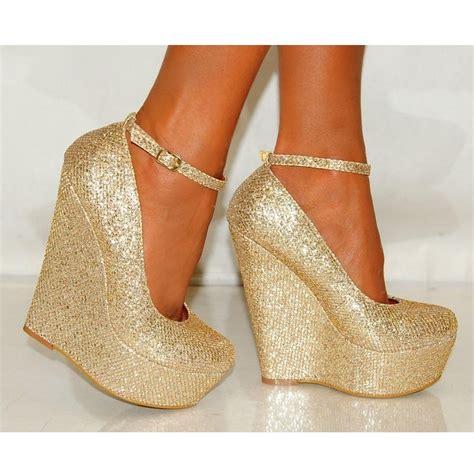 gold high heel wedges gold shimmer glitter wedges platforms high heels