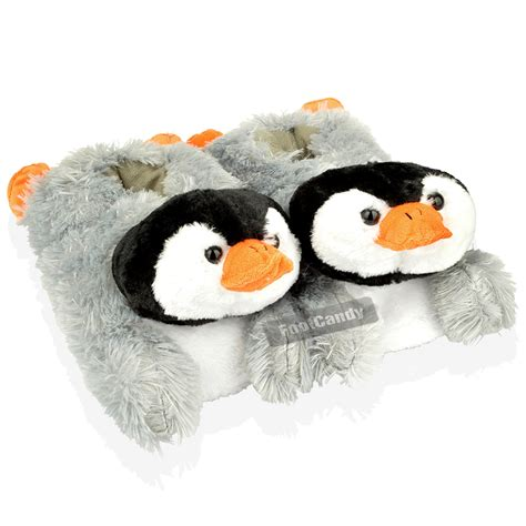 penguin house shoes womens ladies girls dunlop novelty fur penguin animal grey warm winter slippers ebay