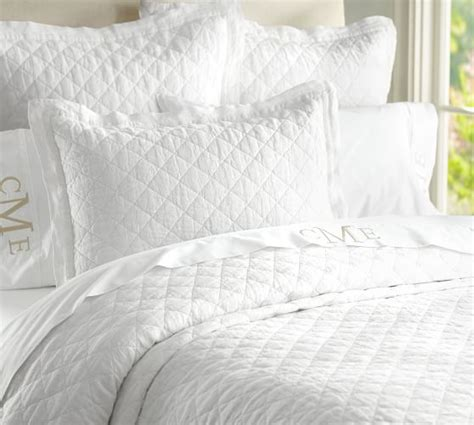 White Quilt by Belgian Flax Linen Quilt Sham Pottery Barn