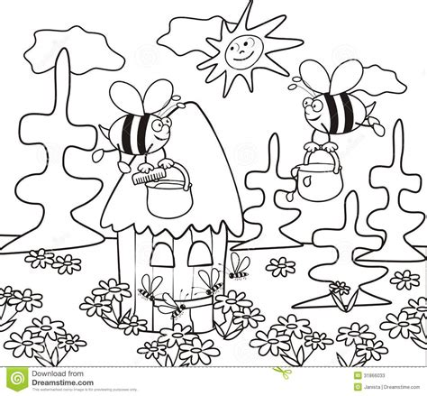 Hive Coloring Book Stock Photos Image 31866033