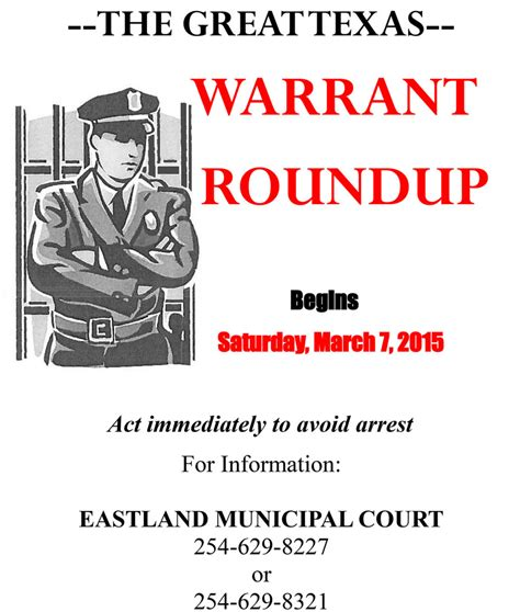 Rock Municipal Court Warrant Search City Of Eastland To Participate In Great Warrant