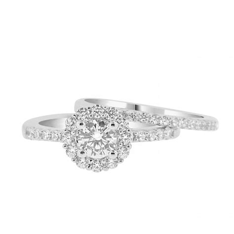 cz solitaire halo engagement ring with matching