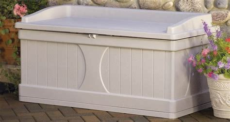 suncast patio bench suncast deck box storage bench w taupe finish outdoor living patio furniture