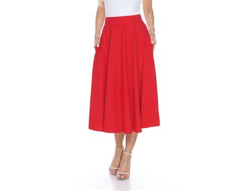 Flare Skirt Midi Excellent Quality white flared midi skirt with pocket