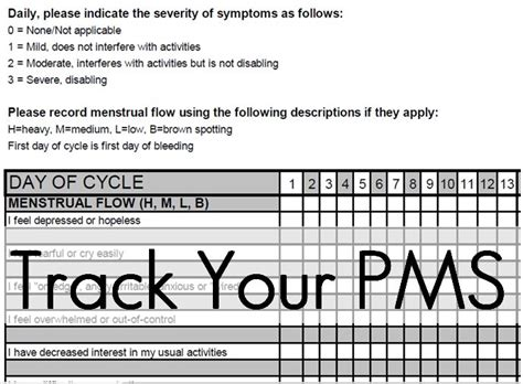 8 Pms Symptoms We by Excellent Printout To Objectively Track Pms Symptoms