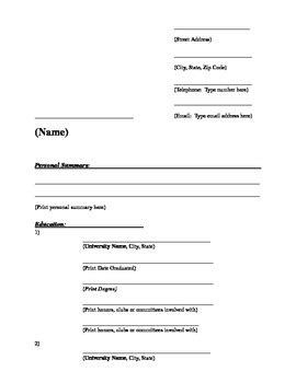 easy resume templates with fill in the blanks fill in the blank resume lifiermountain org