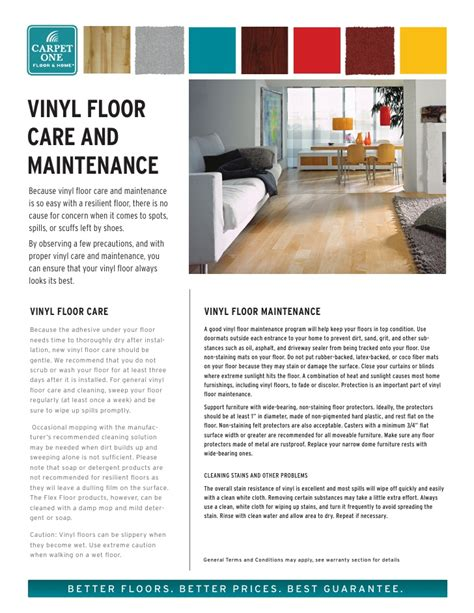 vinyl floor care and maintenance from carpet one floor home
